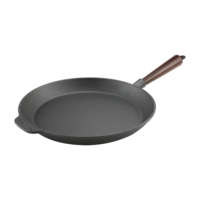 Cast Iron Skillet Frying Pan 28cm Wood Handle