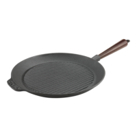 Cast Iron Grill Pan 28cm Wood Handle