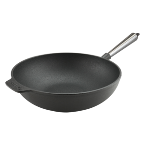 Cast Iron Wok Pan 30cm Steel Handle