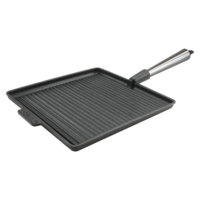 Large Square Cast Iron Grill Pan 28cm Steel Handle