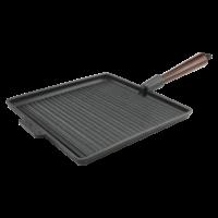 Grill Quadrato Ghisa 28cm Manico Legno