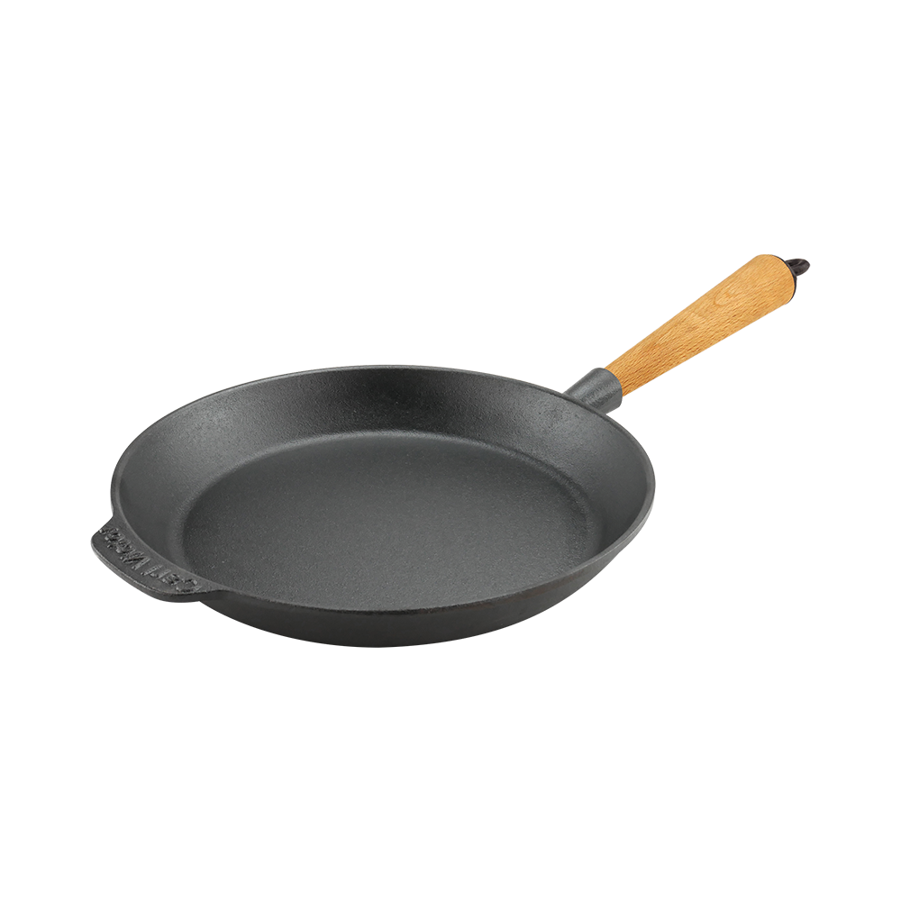 Cast Iron Skillet Frying Pan 24cm Wood Handle