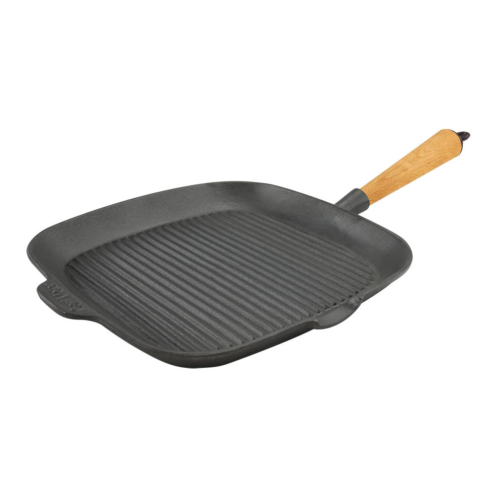 Cast Iron Square Grill Pan 28cm Wood Handle