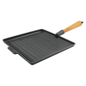 Large Square Cast Iron Grill Pan 28cm Wood Handle